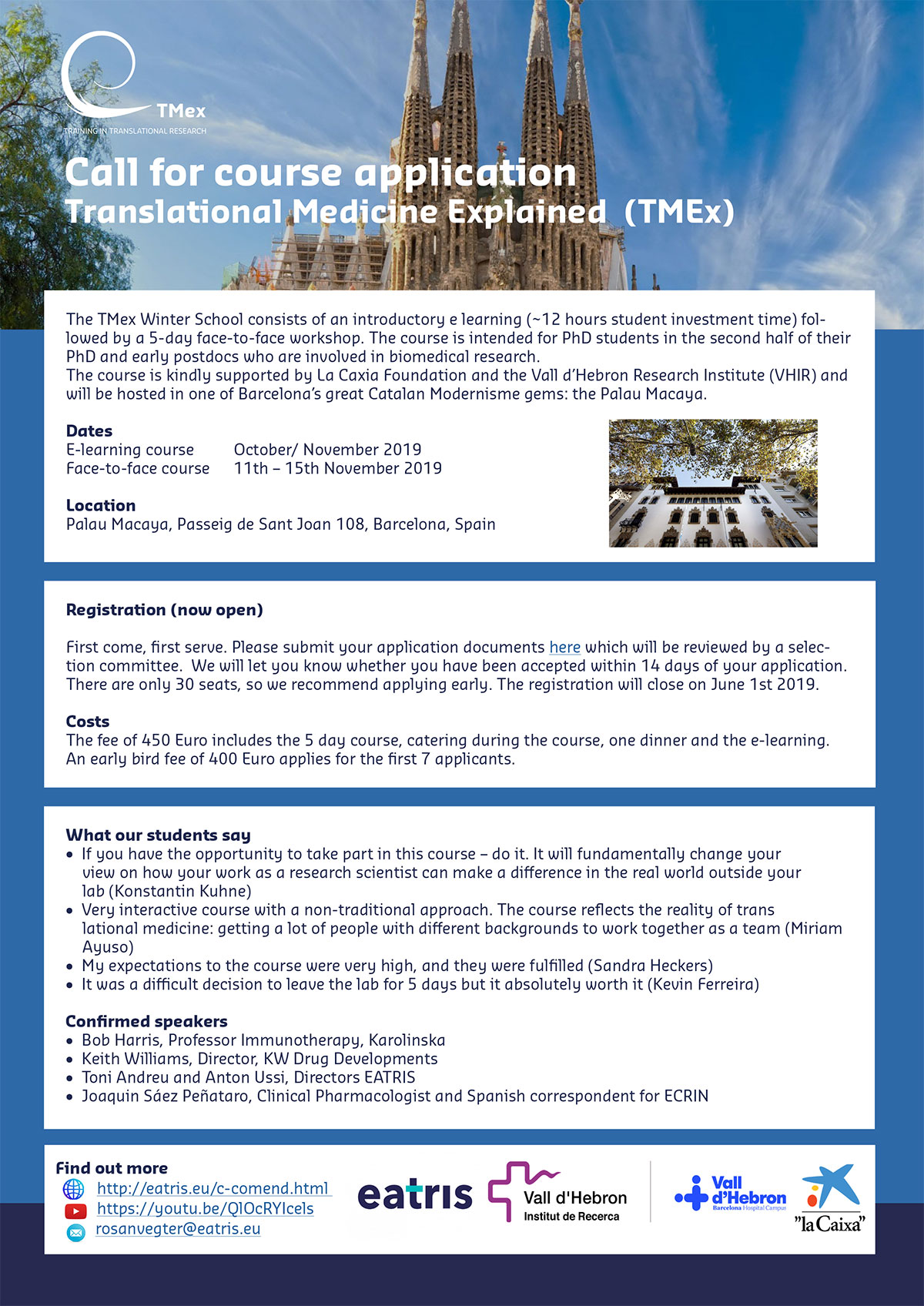 "2019 Winter school ""Translational Medicine Explained (TMex)"