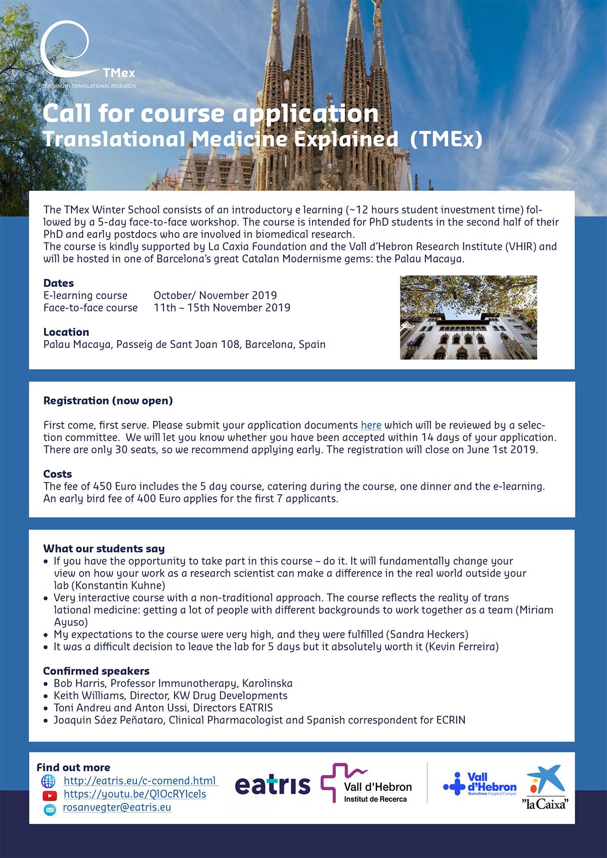 "2019 Winter school ""Translational Medicine Explained (TMex)"